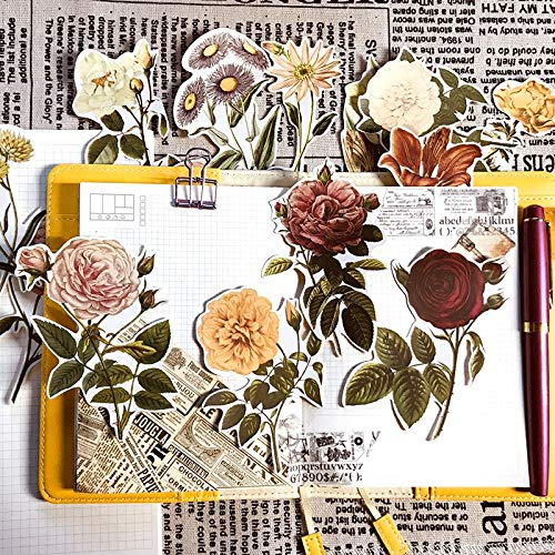 YCBHD 20 stuks retrostickers voor handtellers, zelfklevend, roze, zelfklevend, grote bloemen, fotoalbum, knutselwerk, huishouden/keuken Meerkleurig.