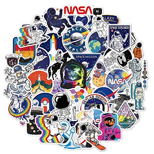 NASA Stickers for Laptop[50PCS], Space Exporer Galaxy Vinyl Decals for Water Bottle Hydro Flask MacBook Car Bike Bumper Skateboard Luggage, Spaceman Spacecraft Universe Planet Logo Graffiti Sticker