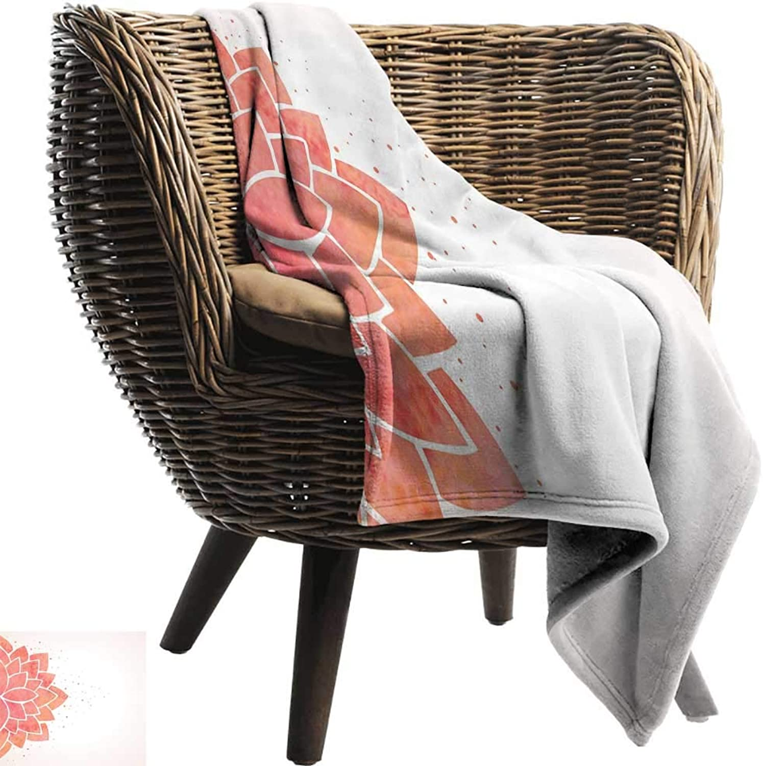 Nap Blanket Lotus Flower Aquarelle Style Half Lily Ayurveda Meditation Theme with Artistic Look Super Soft Cozy 60  W x 51  L Coral Pale Peach