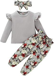 ZOEREA Conjunto de Ropa de Bebé Niña Encantador Manga Larga Tops con Volantes + Pantalones Floral + Venda Recién Nacido Ni...