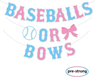 Kitticcino Baseballs or Bows Gender Reveal Banner Boy or Girl Baby Shower Garland Blue or Pink Gender Reveal Party Pregnancy Announcement Decor