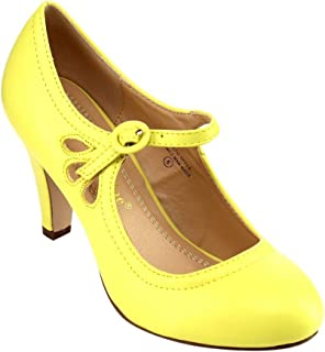 ce4e6cced6a Chase   Chloe Kimmy-21 Women s Round Toe Pierced Mid Heel Mary Jane Style  Dress