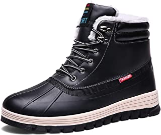 Mens Snow Boots Warm Fur Lined Outdoor Sneakers Leather Waterproof Anti-Slip Winter Shoes