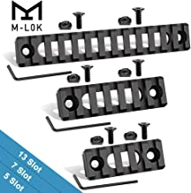 Semedea M-Lok Picatinny Rail, 5-Slot 7-Slot 13-Slot Aluminum Picatinny Rails Section for MLOK Compatible Systems with 6 T-Nuts & 6 Screws & 3 Allen Wrench (Black2, Hollow-Out Design)