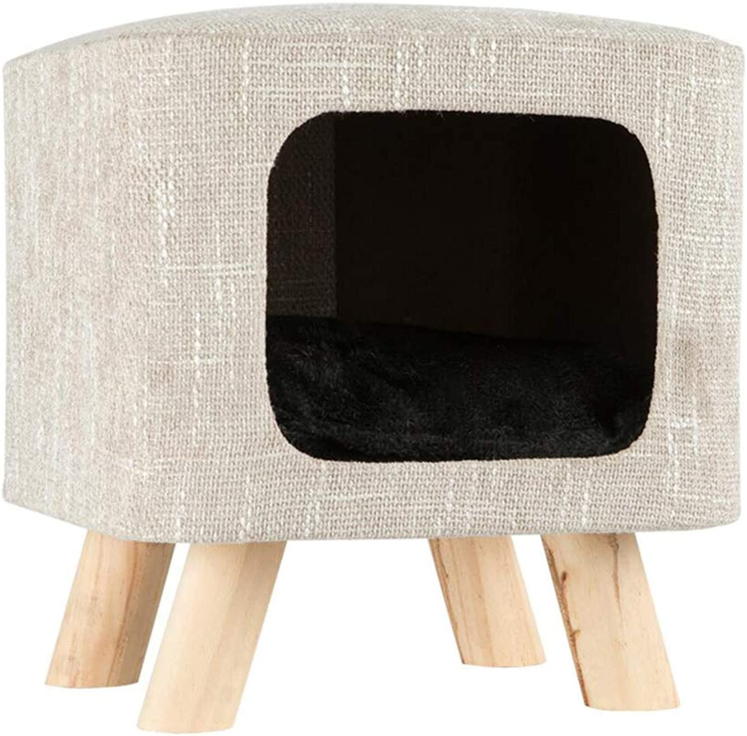 QUD Cat litter, cat house cat house cat house stool solid wood leg seat cat house kennel (color   Beige)