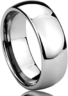 Prime Pristine Titanium Wedding Band Ring for Men & Women High Polished Classy Domed Ring for Men & Woman