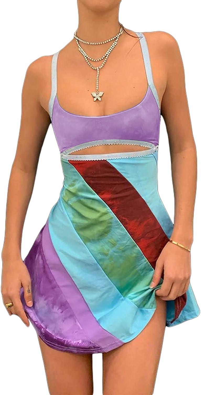 Meiweileya Women's Sexy Halter Neck Bodycon Dress Knit Slim Fit Mini Dress Sleeveless Short Tight Dress Y2K Clubwear