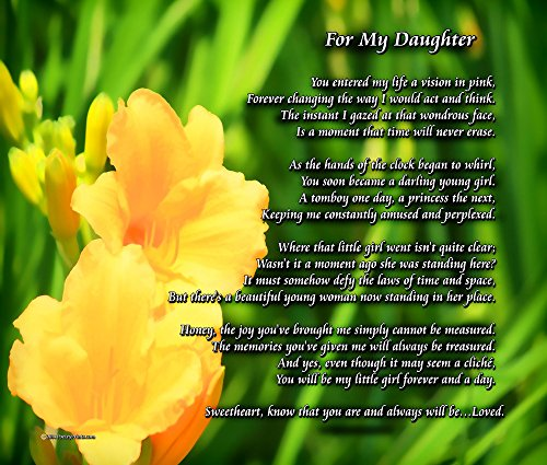 for My Daughter - (One Parent) - Poem Print (8x10) - Beautiful Daughter Gift for Any Occasion