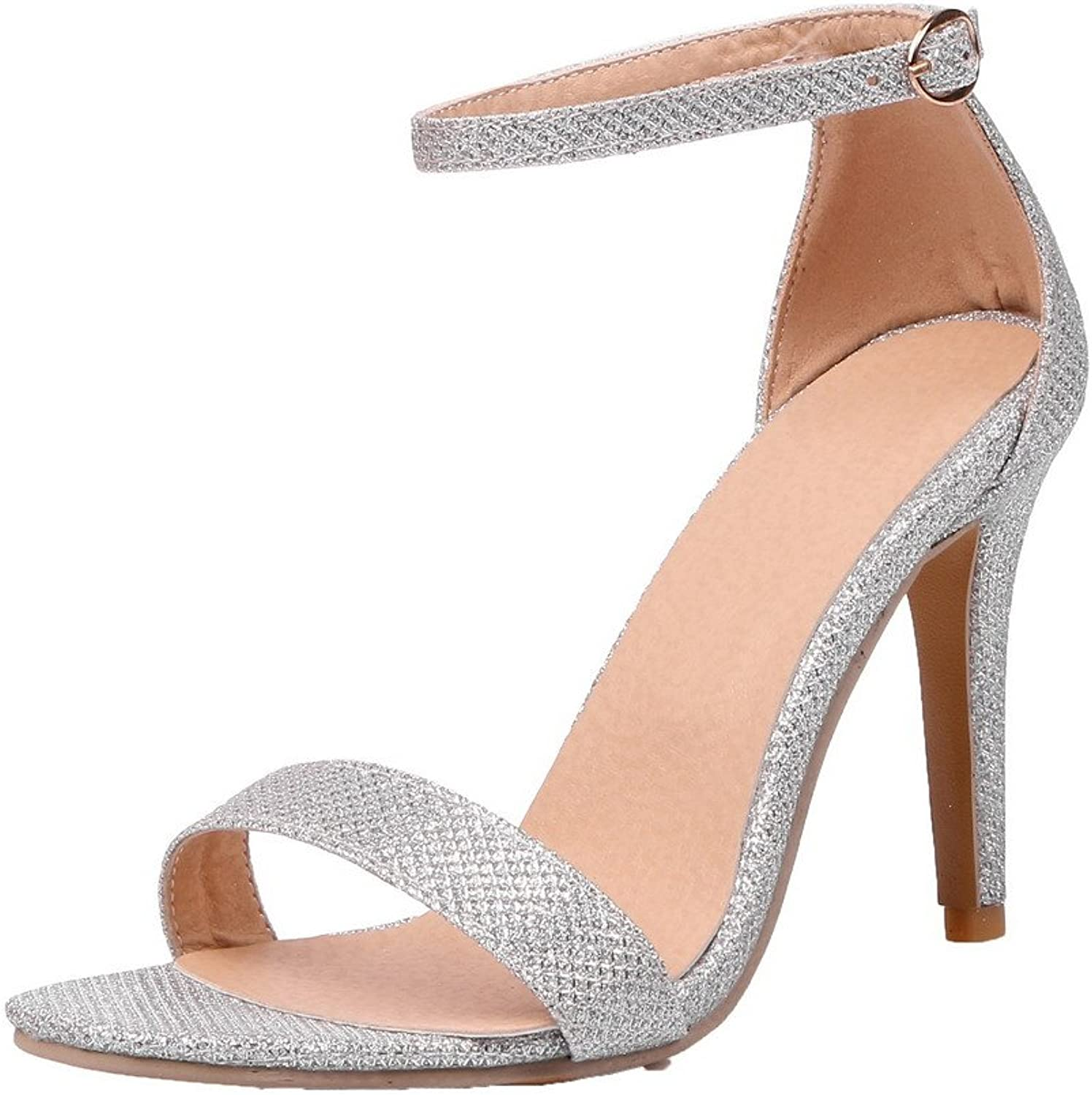AllhqFashion Women's Solid Blend Materials High-Heels Open-Toe Buckle Sandals