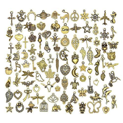 Antiker Steampunk Anhänger Anhänger Uhr Uhr DIY Handwerk, Halskette Anhänger,Schlüsselanhänger,Schmuckherstellung, Cosplay Kostüm Zubehör Bronze (100 Stück)