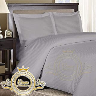 Crown Royal Hotel Collection Export Quality 650 Thread Count Egyptian Cotton Expanded/Olympic Queen Size 4 Piece Sheet Set 11'' Inch Deep Pocket Fitted Sheet 66X80 Silver Gray Striped