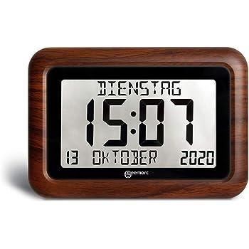 Wei/ß 8 Digital Wecker,Digitaler Kalender Tag Uhr F/ür Demenz sehschwachen Gelesen Werden,Kinder Senioren Sehschwache und Alzheimer Patienten -Gro/ßer Schrift Elektronischer Kalender Tag Uhr