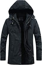 $63 » Letdown Accessories Men's Winter Thicken Parka Jacket with Drawstring Removable Hood Windproof Multiple Pockets Big and Ta...