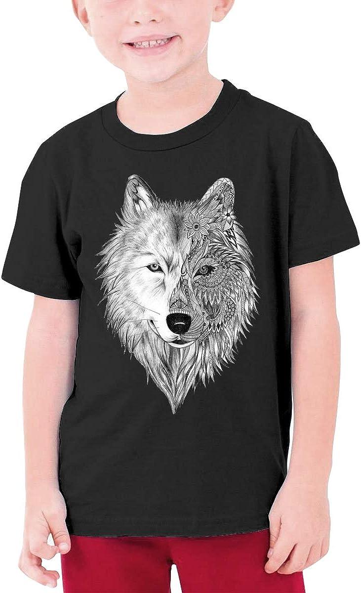 Big Wolf Head Youth T-Shirt Short Sleeve Top Boys&Girls Tee