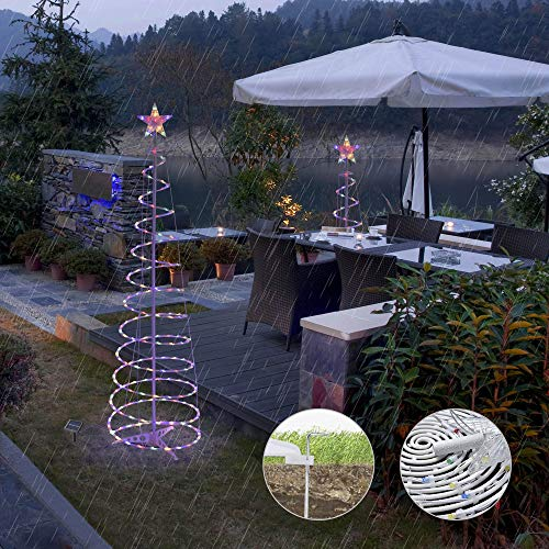 Yescom Solar Panel Set of 3 LED Christmas Spiral Light Kit 6Ft 4Ft 3Ft Indoor Outdoor Garden Party