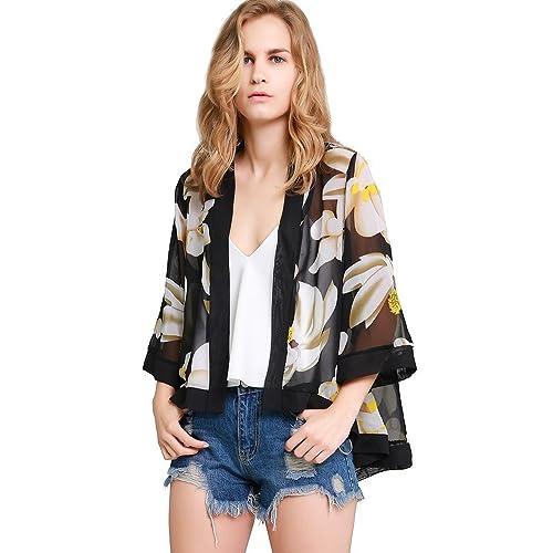 30b5d74b6e6 MissShorthair Womens Loose Chiffon Kimono Blouse Floral Print Cardigan Short  Tops