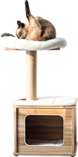 Catry, Wooden Cat Tree Condo with Natural Sisal Rope Scratching Post for Kitten