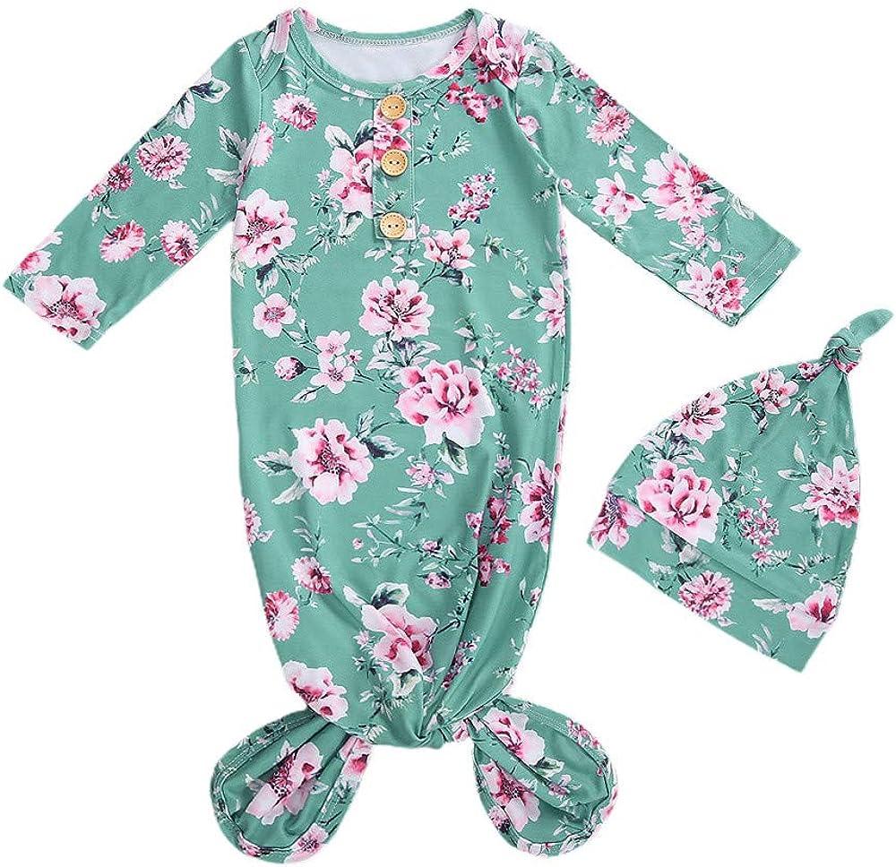 Newborn Baby Floral Nightgown Long Sleeve Sleeping Bags Coming Home Outfits Pajama Set Swaddle Blanket Sleepwear