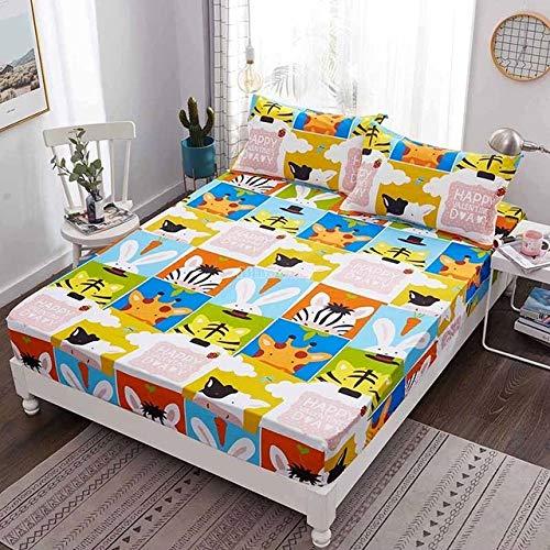 Hllhpc Cartoon Doraemon Kinderen Print Bed Sheet met Elastische Band 100% Katoen Stof Hoeslaken