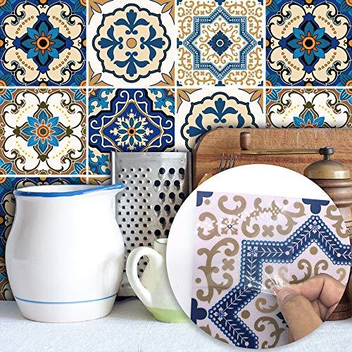 Adhesivo de azulejo Adhesivo de azulejo marroquí por Entrepaños de cocina, pelar y pegar Azulejos Cuarto de baño decoración de la pared impermeable de la etiqueta engomada de la etiqueta de muebles