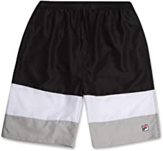Fila Mens Big and Tall Color Block Long Swim Trunks Mesh Lined with Quick Dry Technology
