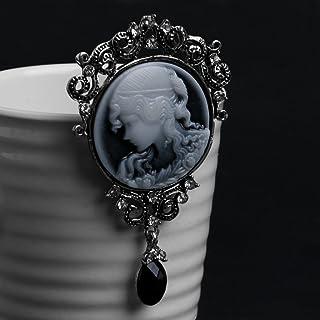SimpleLife Spilla Pendente Spilla Gioielli Vintage Spilla cammeo Vittoriano Vintage Anticato per Donna Elegante - Argento