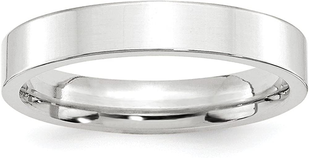 Solid 10k White Gold 4mm Flat Comfort Fit Plain Classic Wedding Band Ring