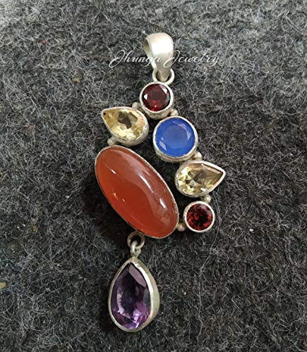 Amethyst Goddess Pendant with Large Amethyst Stone and Sterling Silver Body