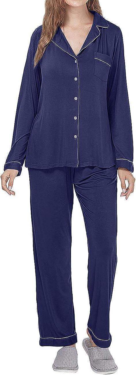 Menore Pijamas Mujer Invierno Algod/ón Mangas Larga Pijamas Invierno Ropa de Domir 2 Piezas Conjuntos Suave y Comodo