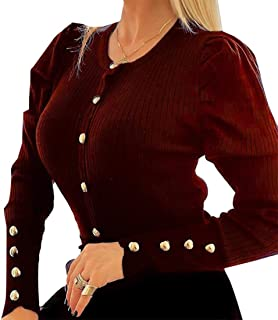 GAGA Women's Solid Color Breasted Puff Sleeve Knitted Round Neck Sweater Top