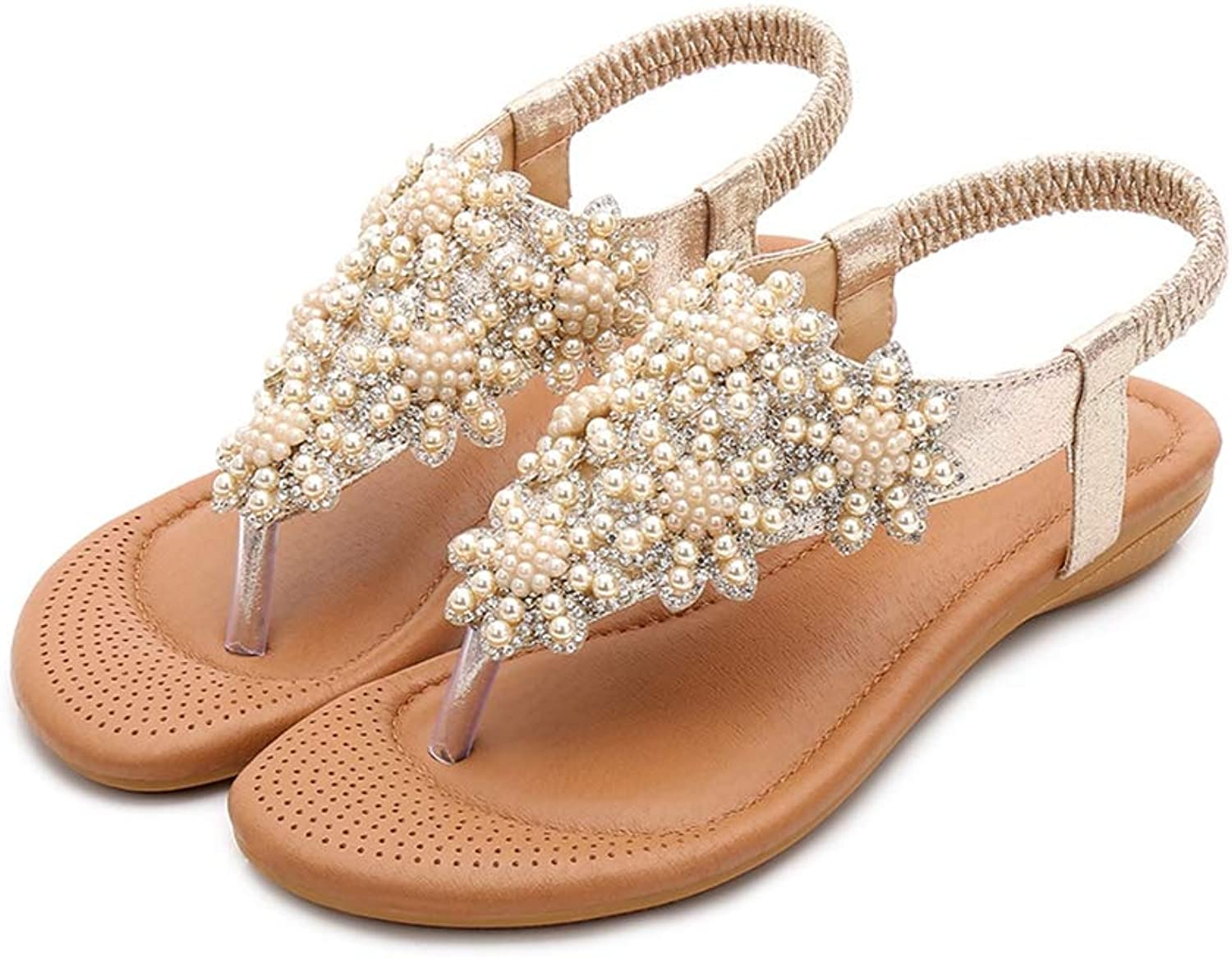 PFMY.DG Summer Women's Sandals, Pinch Open Toe Breathable Rhinestone Beach shoes, Beading Cozy Wear Resistant Flat shoes, Party, Dress, Office