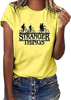 Camiseta Stranger Things Niña, Camiseta Stranger Things Unisex Mujer Hombre Impresión de Cartas T-Shirt Camiseta Desgaste ...