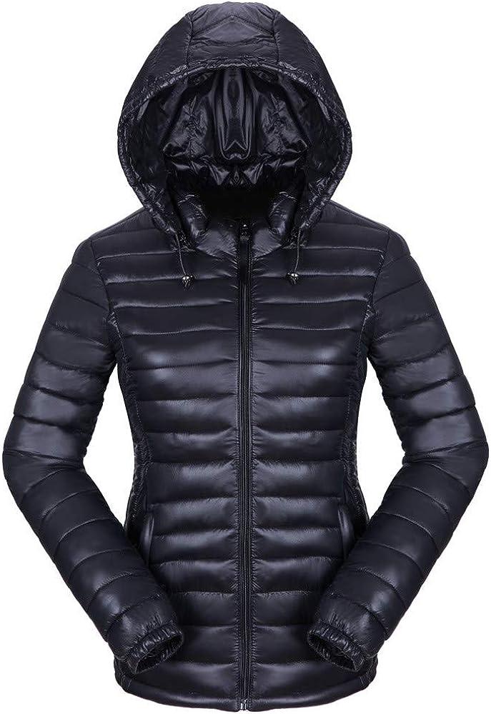 BODOAO Women Quilted Lightweight Jackets Down Hooded Winter Coats Slim Overcoat
