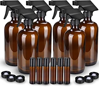 Glass Spray Bottle, Wedama Amber 6 16oz Glass Spray Bottle Set, 6 10 ml Essential Oil Roller Bottles Kits with& Accessories for Aromatherapy Facial Hydration Watering Flowers Hair Care