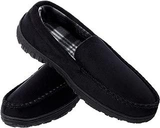 festooning Mens Microsuede Moccasin House Slippers Black 14 M US