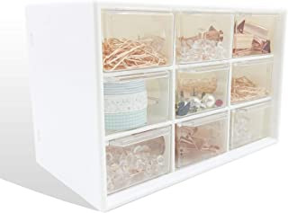 Mini Desk Organizer with Drawers, Office Supplies and Jewelry Storage Case 9 Drawers