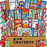 CraveBox Care Package (60 Count) Snacks Food Cookies Chocolate Bar Chips Candy Variety Gift Box Pack Assortment Basket Bundle Mix Bulk Sampler Treat College Students Final Exam Office Mother's Day