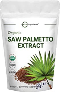 Sustainably US Grown, Organic Saw Palmetto Powder, 4 Ounce, Pure Saw Palmetto Prostate Supplement, Healthy Urination Frequ...