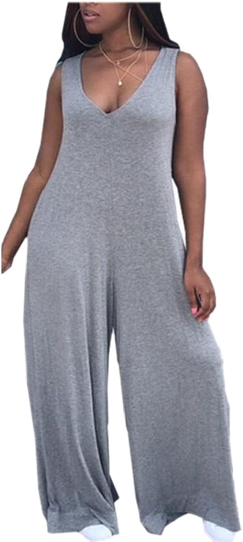 Generic Womens VNeck Sleeveless Baggy Wide Leg Jumpsuit
