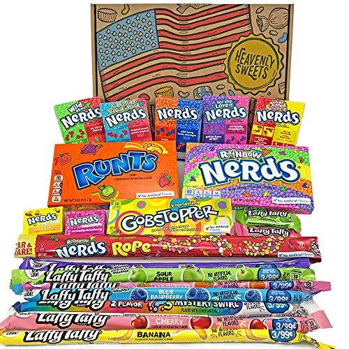 Amerikanische Wonka-Süßigkeiten Geschenkkorb | Süßigkeiten aus den USA | Auswahl beinhaltet Wonka Nerds, Gobstoppers | 20 Produkte in einer tollen retro Geschenkebox