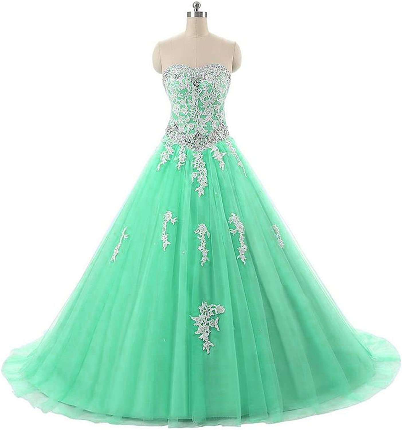 QiJunGe Women's Ball Gown Quinceanera Dresses Corset Prom Gowns with Appliqued