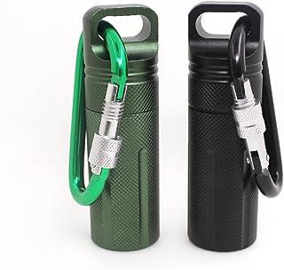 SENHAI - Juego de 2 recipientes herméticos para pastillas, impermeables, de aluminio para exteriores, con 2 mosquetones de bloqueo, color negro, verde