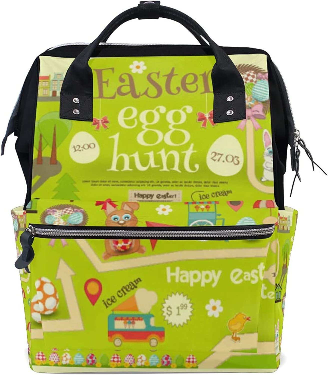 ColourLife Diaper bag Backpack Easter Invitation Card Tote Bag Casual Daypack Multifunctional Nappy Bags