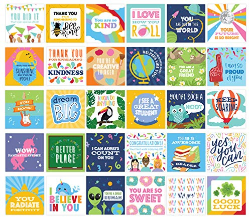 bloom daily planners Student Encouragement Card Deck - Cute Sentimental Quote Cards for Teachers to Give Kids - Set of Thirty 3' x 3' Cards - Assorted Designs