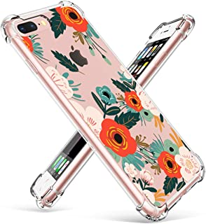 GVIEWIN Clear Case for iPhone 8 Plus/7 Plus, Flower Pattern Design Soft & Flexible TPU Ultra-Thin Shockproof Transparent Floral Cover, Cases for iPhone 7 Plus/8 Plus 5.5 Inch(Flowering/Reseda Green)