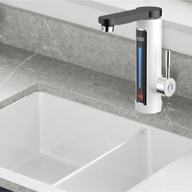 Grifo de calefacción eléctrica para cocina, cuarto de baño, sin depósito, grifo de calefacción, calefacción rápida con indicador digital LED de temperatura, calentador de agua de 360° (blanco normal)