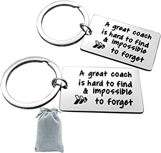 Thank You Keychain for Coach Thankful Appreciation Gifts Key Ring A Great Coach is hard to find&impossible to forget Keychain Thank You Gifts for Men Woman Thank You Gift for Coaches(2 Pack)