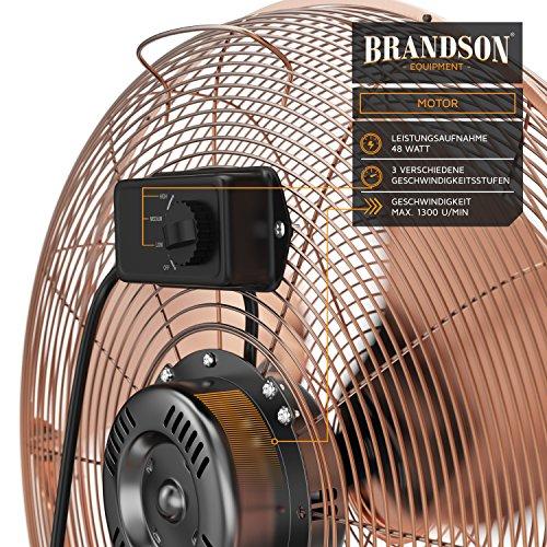 Brandson – Windmaschine Retro Stil | Ventilator in Kupfer | Standventilator 30cm | Tischventilator/Bodenventilator | hoher Luftdurchsatz | robuster Stand | stufenlos neigbarer Ventilatorkopf | Kupfer Bild 6*