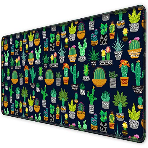 ITNRSIIET [35% Larger] Extended Gaming Mouse Pad with Stitched Edges, Long XXL Mousepad (35.4x15.7In), Non-Slip Rubber Base, Waterproof Keyboard Pad, Mouse Mat for Work Gaming Office Home, Cute Cactus