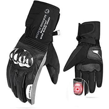 Motorcycle Winter Gloves Men Gauntlet Touch Screen Gloves Riding Windproof Water Resistant Carbon Fiber Men Women ATV UTV Scooter Snowmobile Black Skiing Cycling Size XL